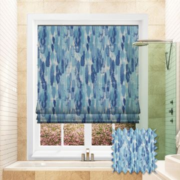 Blue Roman blind in Watercolour Patterned Fresco Inkwash fabric